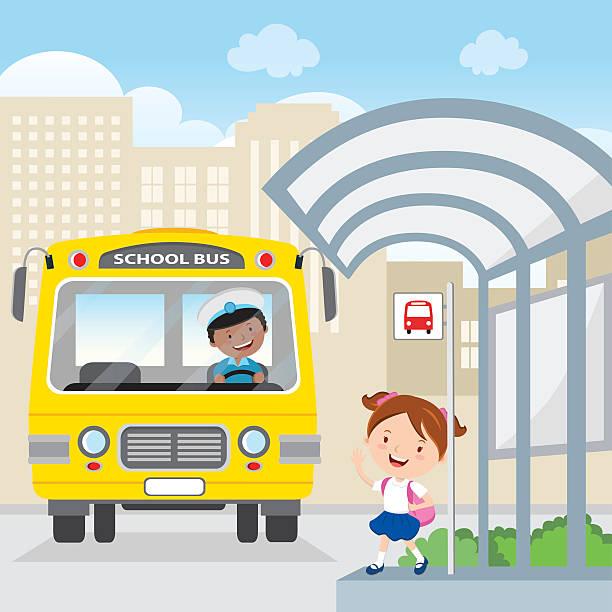 ilustraciones, imágenes clip art, dibujos animados e iconos de stock de little girl waving at the school bus - autobuses escolares