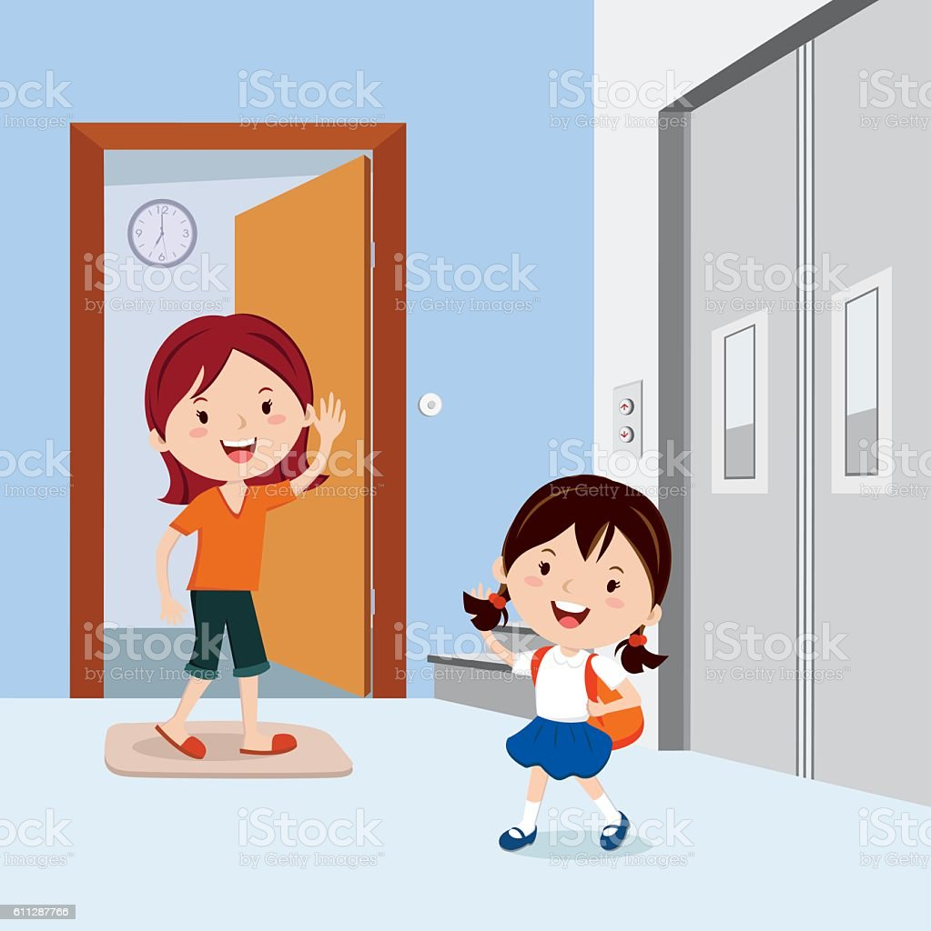 Little girl waving to his mother before leaving to school vector art illustration