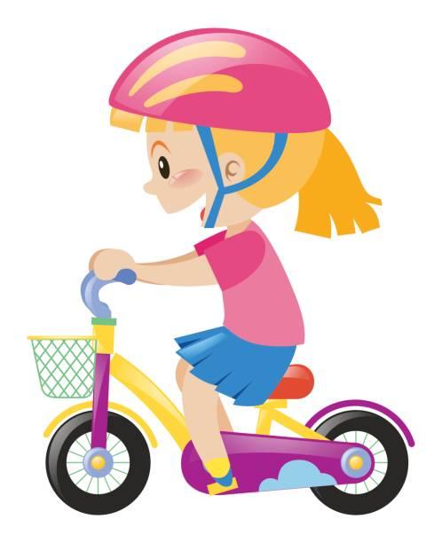 Little Girl Wearing Pink Helmet Riding Bike Vector Art Illustration