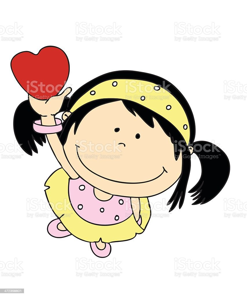 Little Girl with a heart royalty-free stock vector art