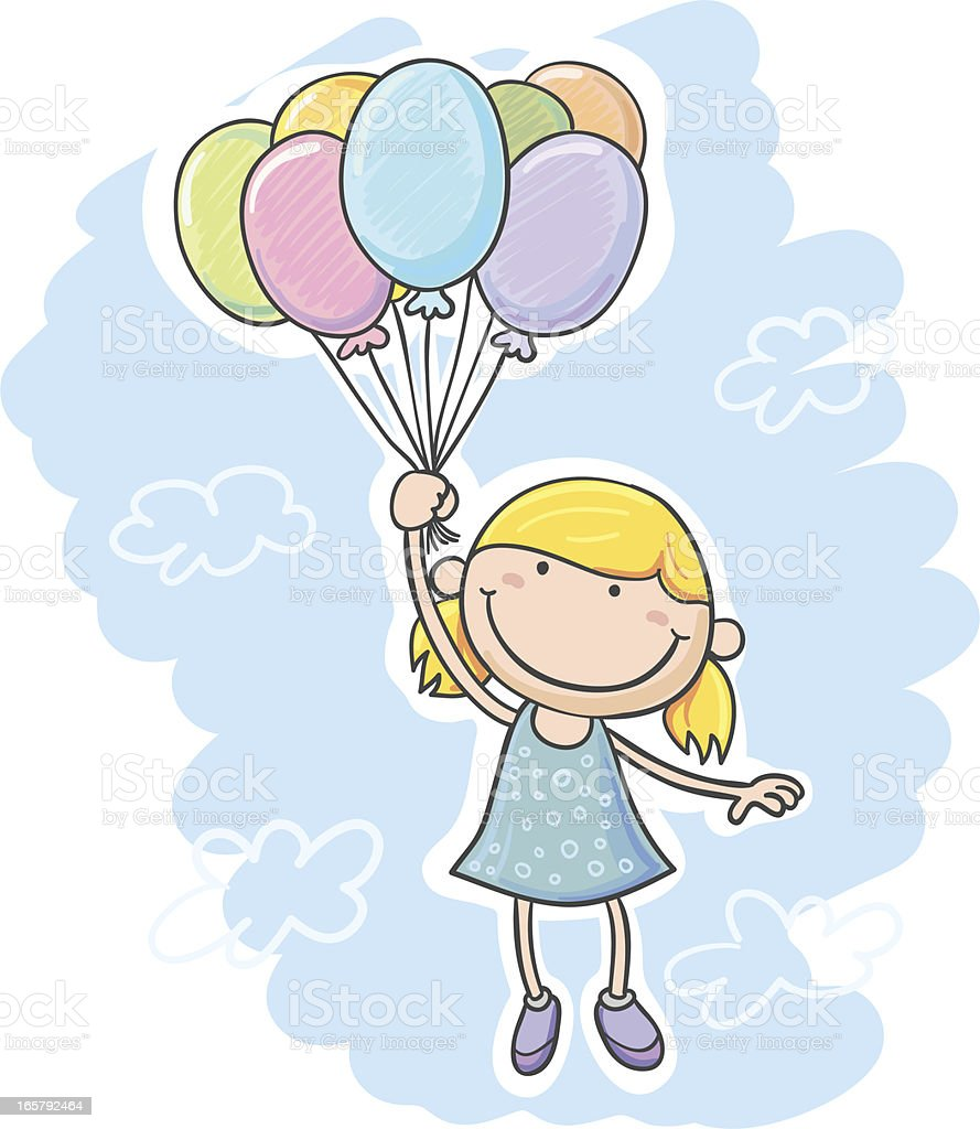Little girl with balloon royalty-free little girl with balloon stock vector art & more images of art and craft