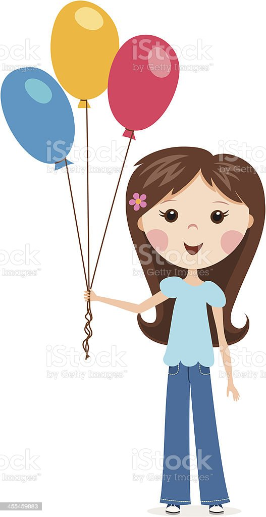 Little girl with balloons royalty-free stock vector art