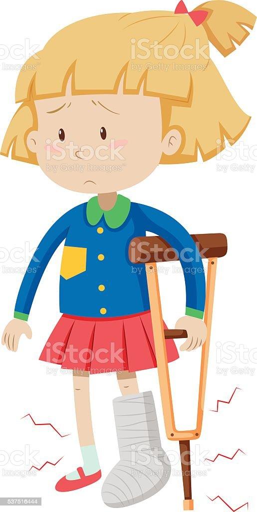 Little girl with broken leg vector art illustration