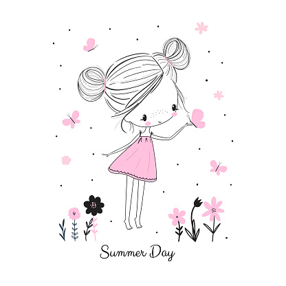 Little girl with butterflies and flowers. Doodle drawing vector illustration