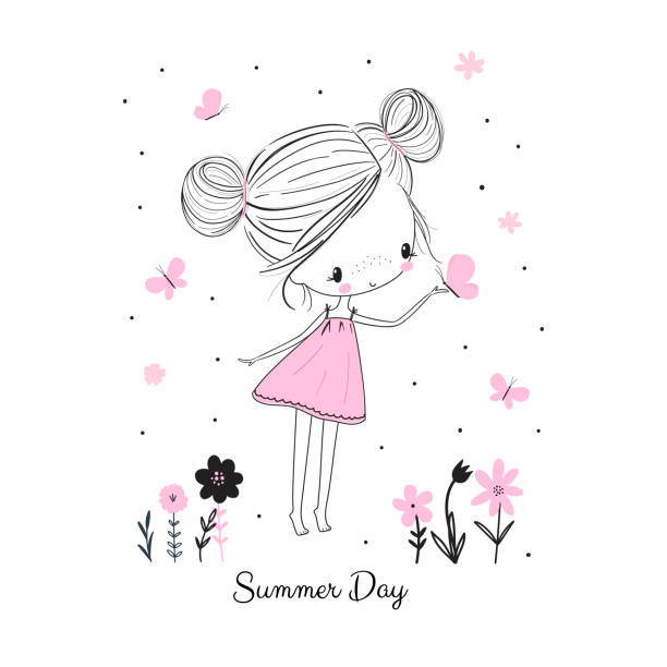 little girl with butterflies and flowers. doodle drawing vector illustration - девочки stock illustrations