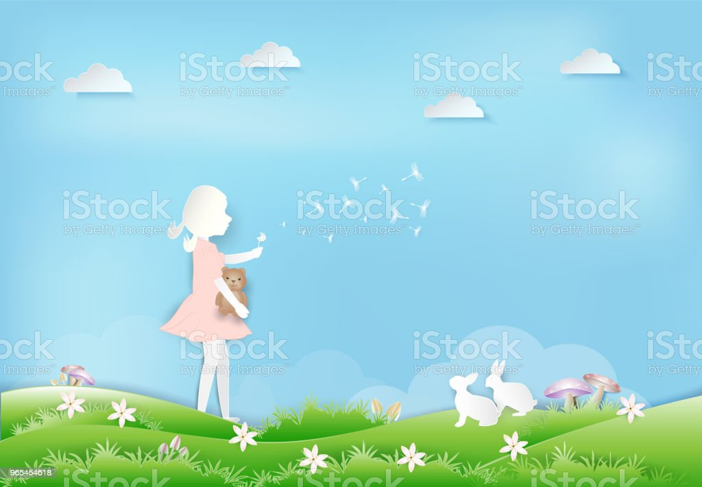 Little girl with Dandelion flower floating and rabbit paper art, paper craft style illustration royalty-free little girl with dandelion flower floating and rabbit paper art paper craft style illustration stock vector art & more images of animal