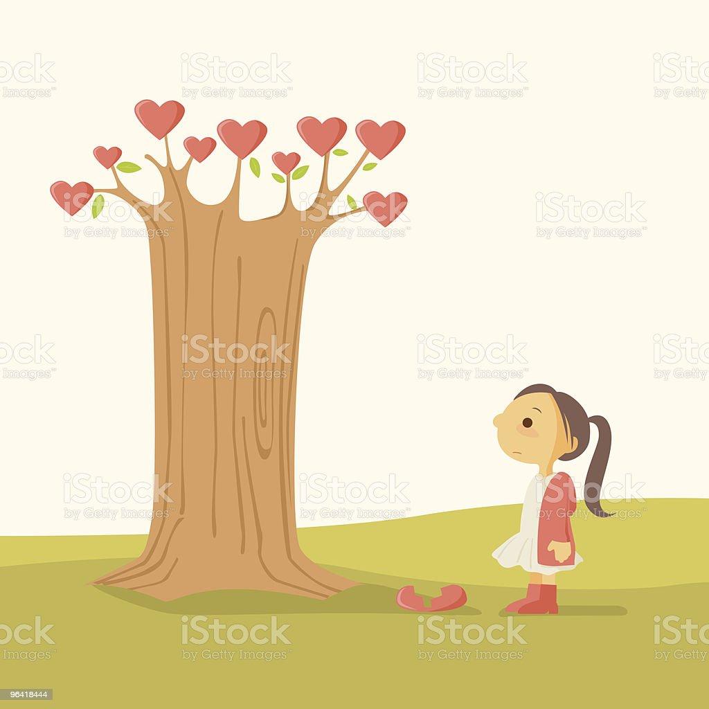 Little Girl with Heart Break Tree vector art illustration