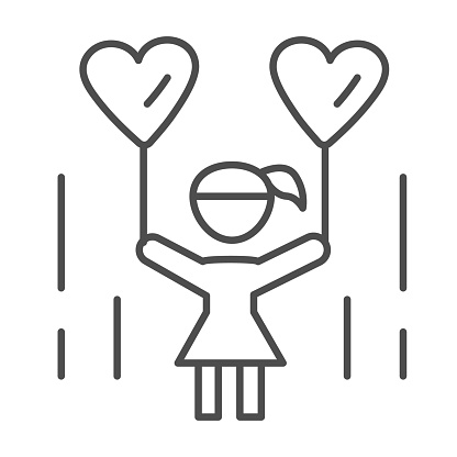 Little girl with heart shaped balloons thin line icon, 1st June children protection day concept, child holding balloon in shape of heart sign on white background in outline style for mobile, web.