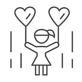 Little girl with heart shaped balloons thin line icon, 1st June children protection day concept, child holding balloon in shape of heart sign on white background in outline style for mobile, web