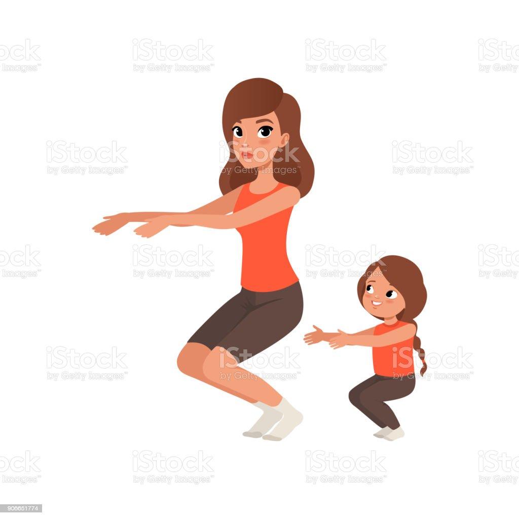 Petite Fille Avec Sa Mère Faire Des Redressements Assis