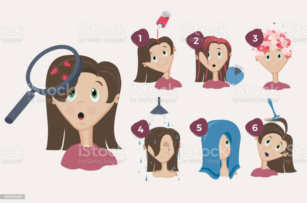 Little girl with lices vector art illustration