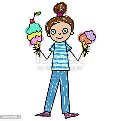 istock Little girl with two big ice creams Kids Drawing style vector illustration 1329879511