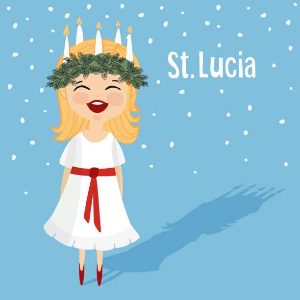 bildbanksillustrationer, clip art samt tecknat material och ikoner med little girl with wreath and candle crown. swedish saint lucia. - lucia