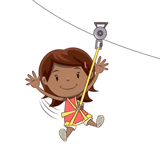 stockillustraties, clipart, cartoons en iconen met kleine meisje ziplining tour - alleen één meisje
