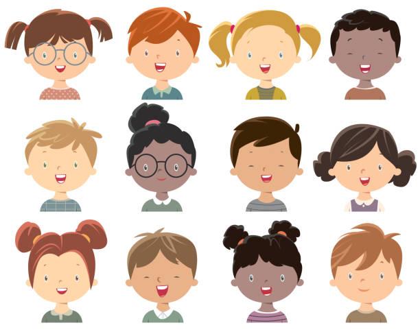ilustraciones, imágenes clip art, dibujos animados e iconos de stock de carita de niñas y niños - cabello castaño