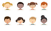 Vector Little girls and boys face