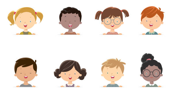 little girls and boys face - chłopcy stock illustrations