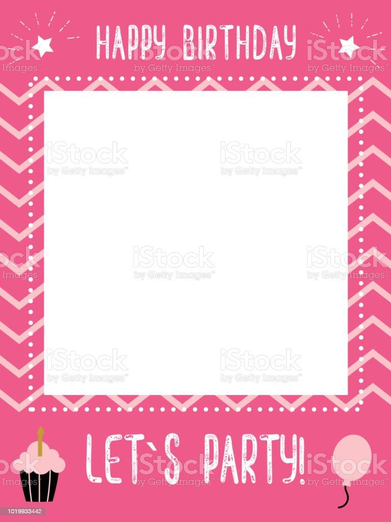 Little Girls Birthday Photo Booth Props Frame Stock Vector Art ...