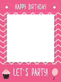 little girl`s birthday photo booth props frame
