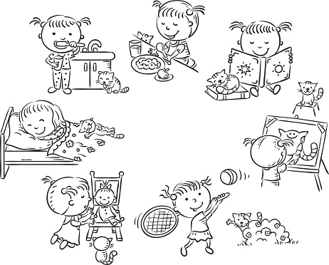 Little girl's daily activities, black and white outline