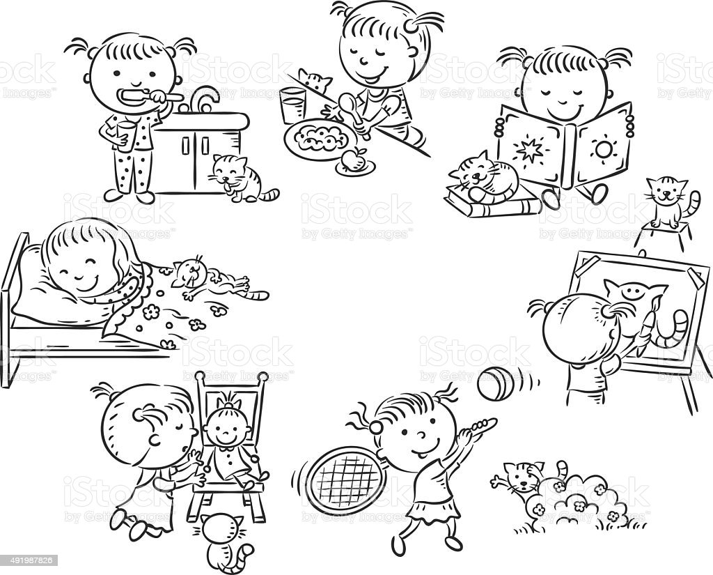 Little girl's daily activities, black and white outline vector art illustration