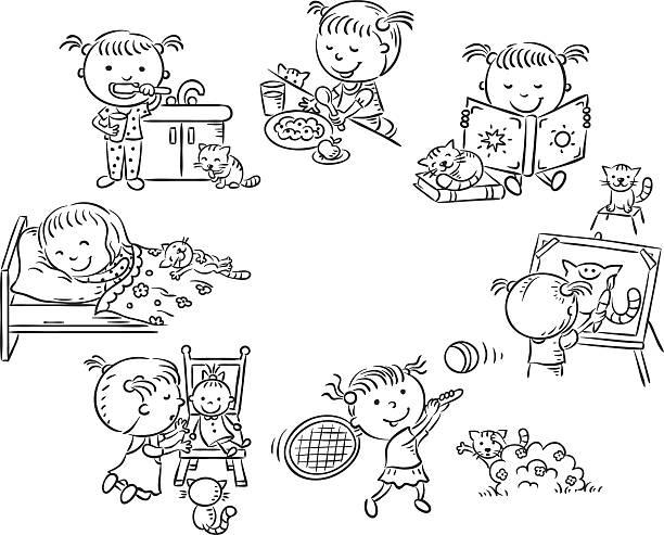 kleines mädchen, die täglichen aktivitäten, schwarzen und weißen kontur - puppenkurse stock-grafiken, -clipart, -cartoons und -symbole