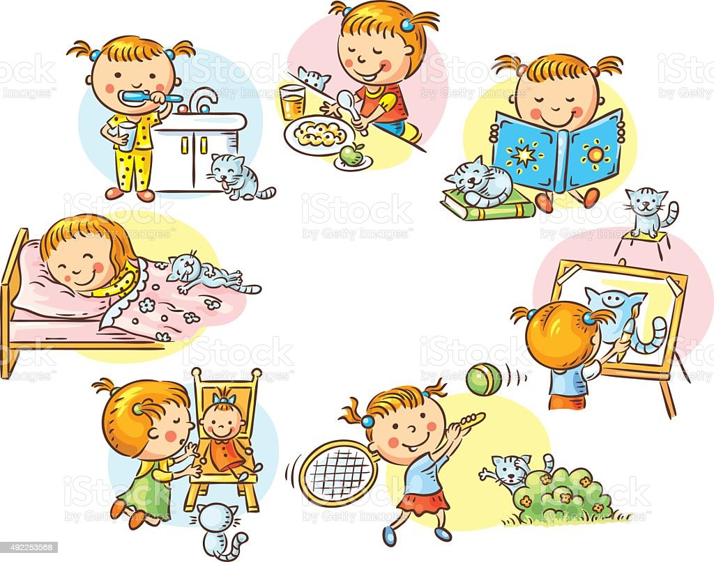 Little girl's daily activities, colorful cartoon vector art illustration