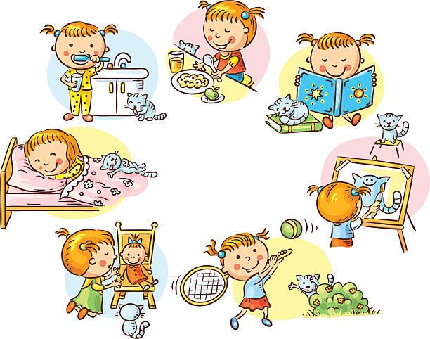 kleines mädchen, die täglichen aktivitäten, bunte comic - puppenkurse stock-grafiken, -clipart, -cartoons und -symbole