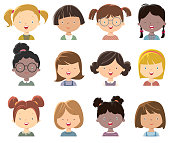 Vector little girls face
