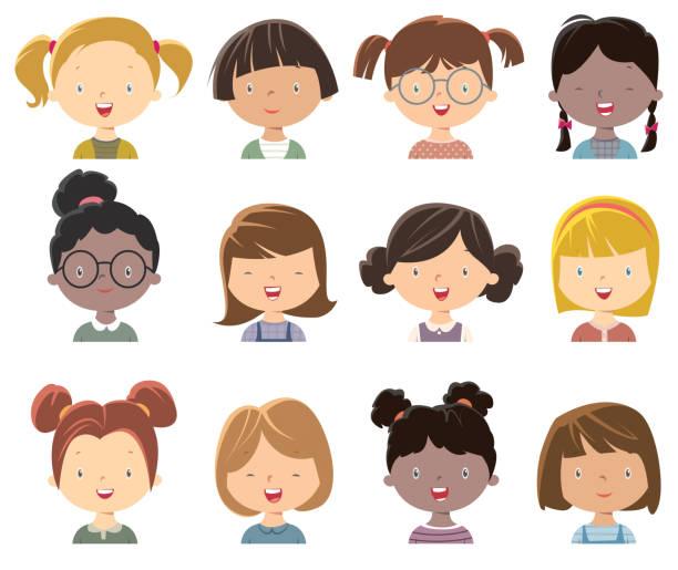 ilustraciones, imágenes clip art, dibujos animados e iconos de stock de carita de niñas - cabello castaño