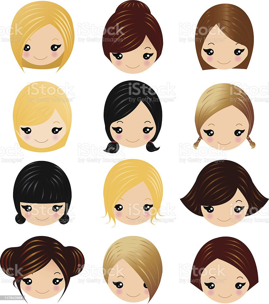 Vector Hairstyles: Little Girls Hairstyles Stock Illustration