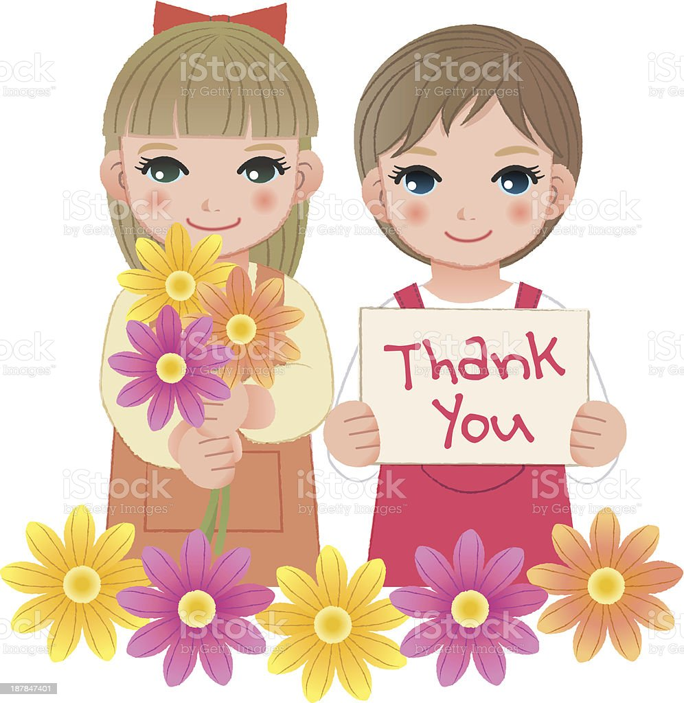 Little girls holding thank you sign and flowers royalty-free stock vector art
