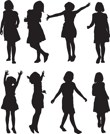 Little girls in various action