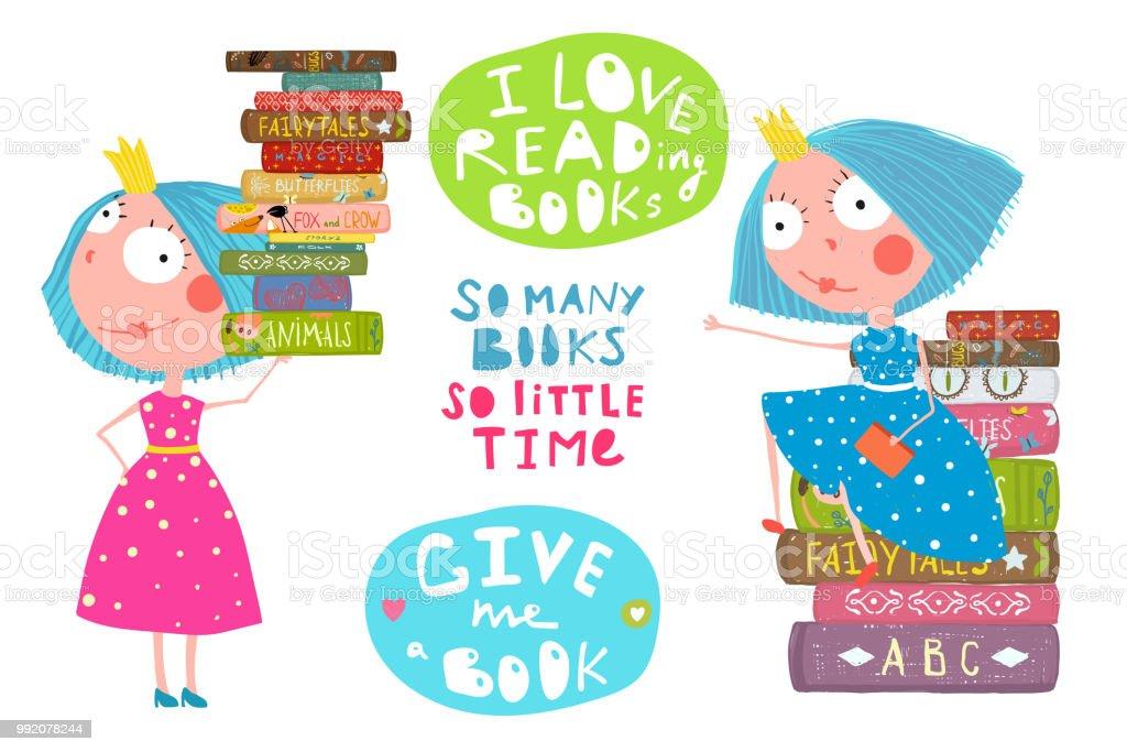 Kleine Mädchen Lieben Lesen Bücher Zitate Stock Vektor Art Und Mehr Bilder Von Aquarell