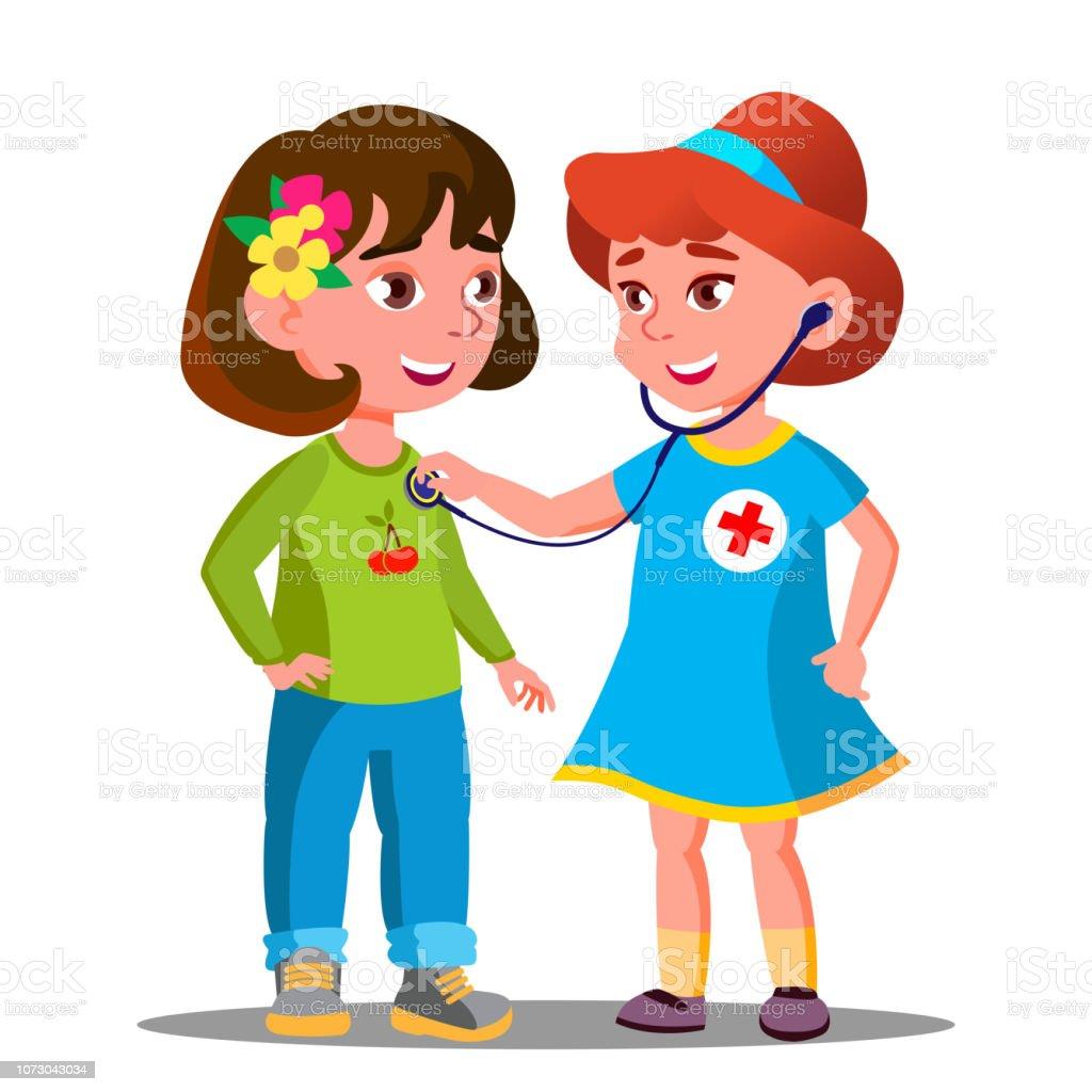 Little Girls Playing Doctor With Stethoscope Vector. Isolated Cartoon Illustration - ilustração de arte vetorial