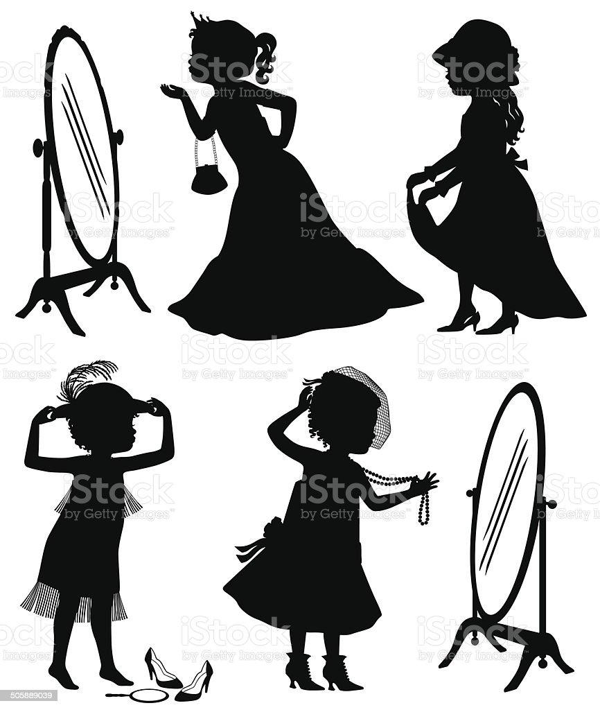 little girls playing dress up stock vector art more images of rh istockphoto com Clip Art Wedding Dress Clip Art Dress 1950 S