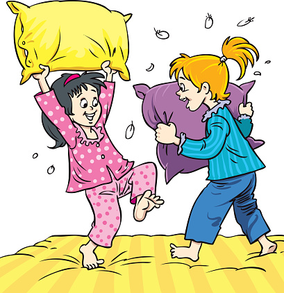 Little Girls playing pillow fight at slumber party illustration