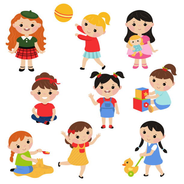 Little girls playing with toys vector art illustration