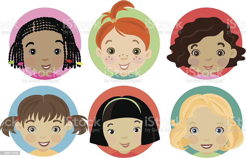 Little Girls vector art illustration