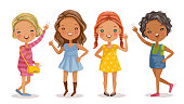 Full length of cute little girls in dress standing and posing. Beautiful fashion  of girls group. Smile and waving friendly. Vector cartoon illustrations isolated on white background.