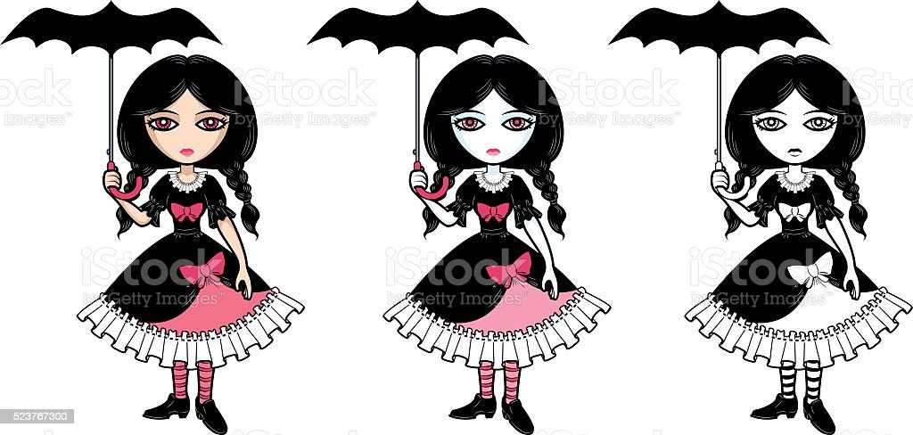 Little goth emo girl with umbrella vector art illustration