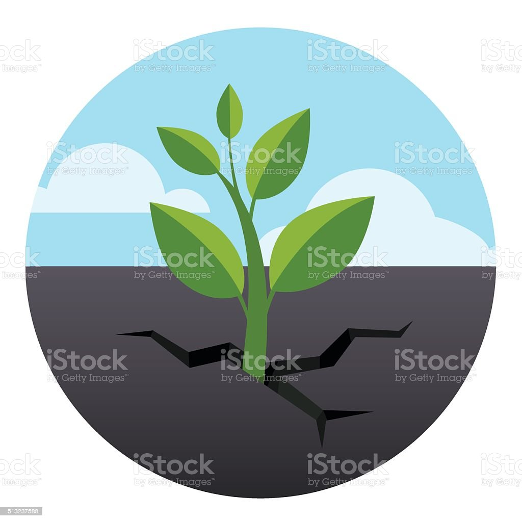 Little green sprout grows through asphalt ground vector art illustration