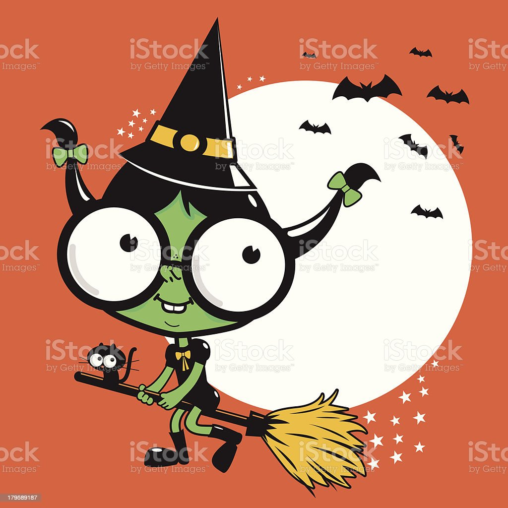 Little Halloween witch flying with broom royalty-free stock vector art
