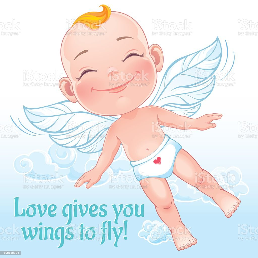 Little happy cupid vector art illustration