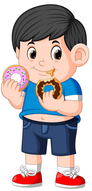ilustrações de stock, clip art, desenhos animados e ícones de little happy cute boy is eating two donut - boca suja