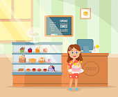 Little happy girl standing with delicious birthday cake in pastry shop. Confectionery cooking cartoon. Flat style. Vector illustration.