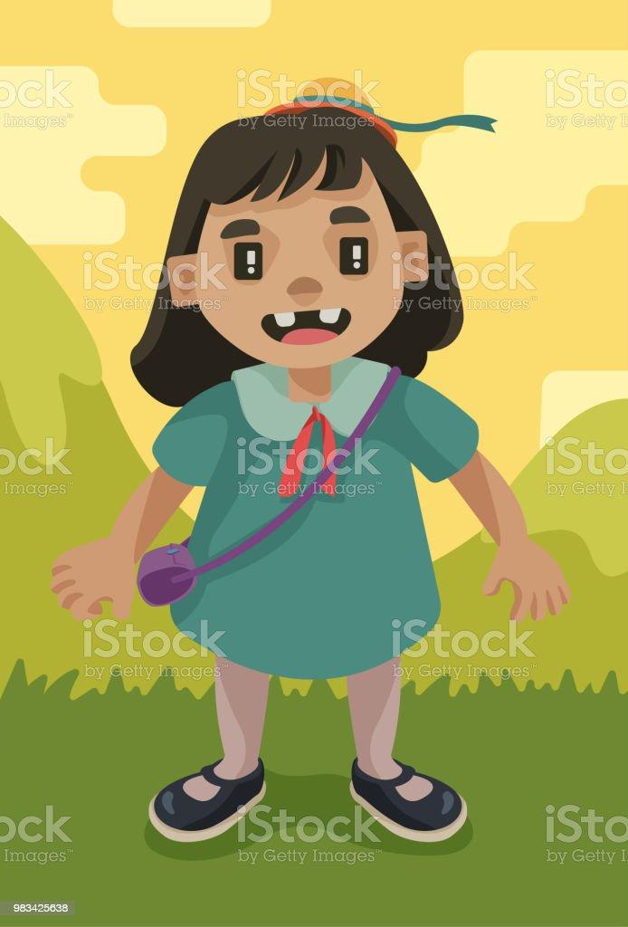 Little Happy Girl vector art illustration