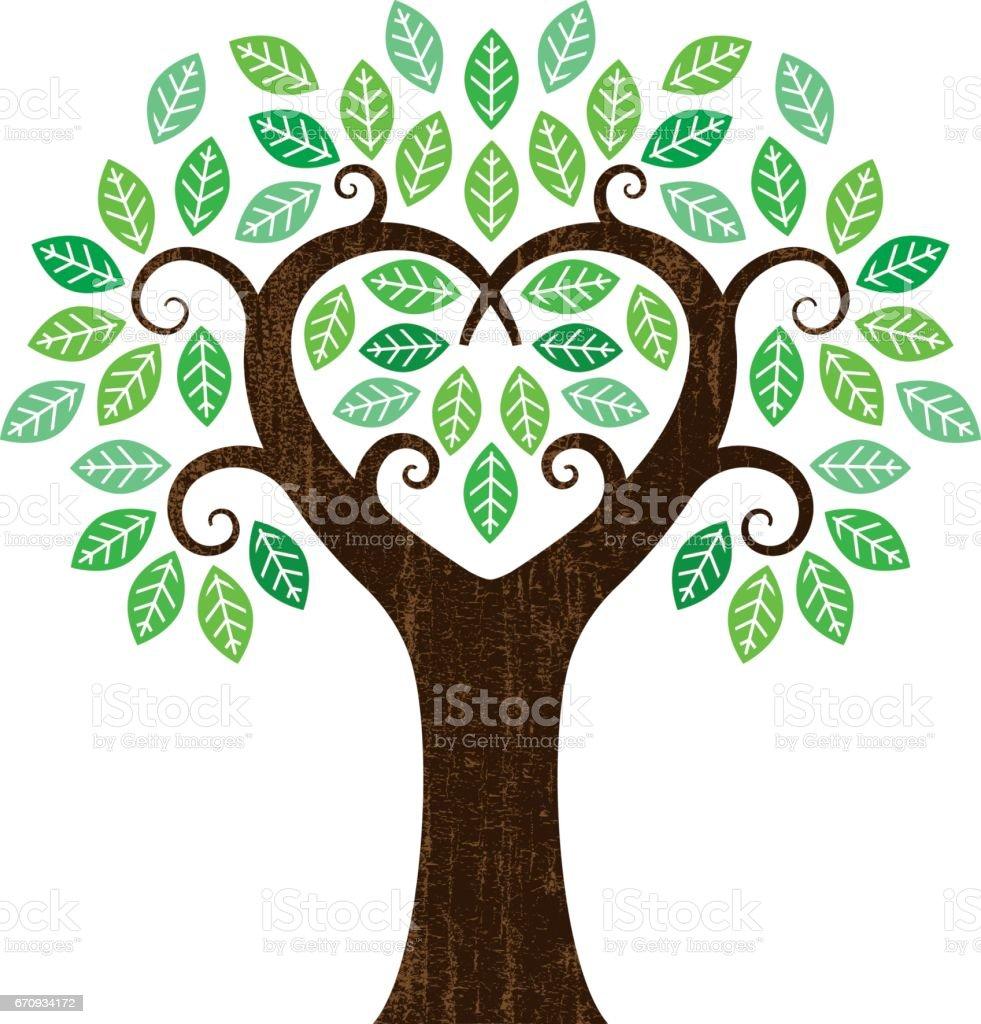 Poco en forma de corazón árbol - ilustración de arte vectorial