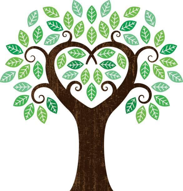 kleine herz-form-baum - stammbäume stock-grafiken, -clipart, -cartoons und -symbole
