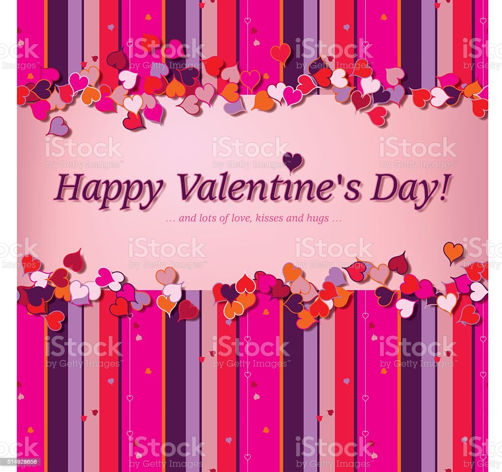 Little hearts and stripes (Valentine card template) vector art illustration